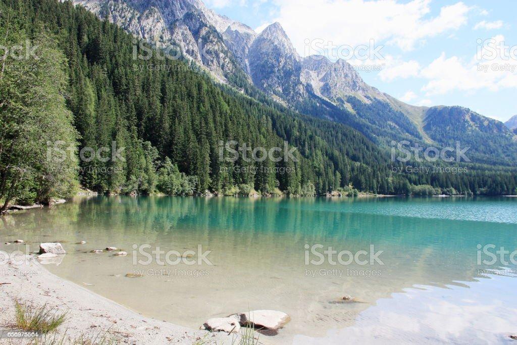 Italian alpine lake in Alto Adige area (Anterselva lake) stock photo