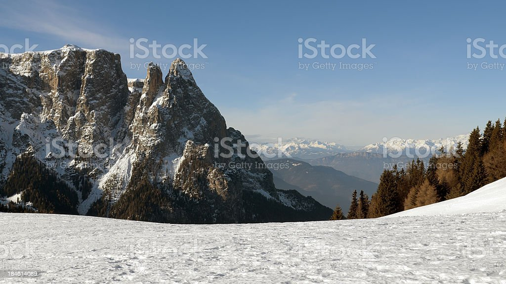Italian Alps, Dolomites in winter royalty-free stock photo