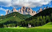 Italian Alps in Funes walley, Dolomites Location Santa Magdalena, Trentino - Alto Adige