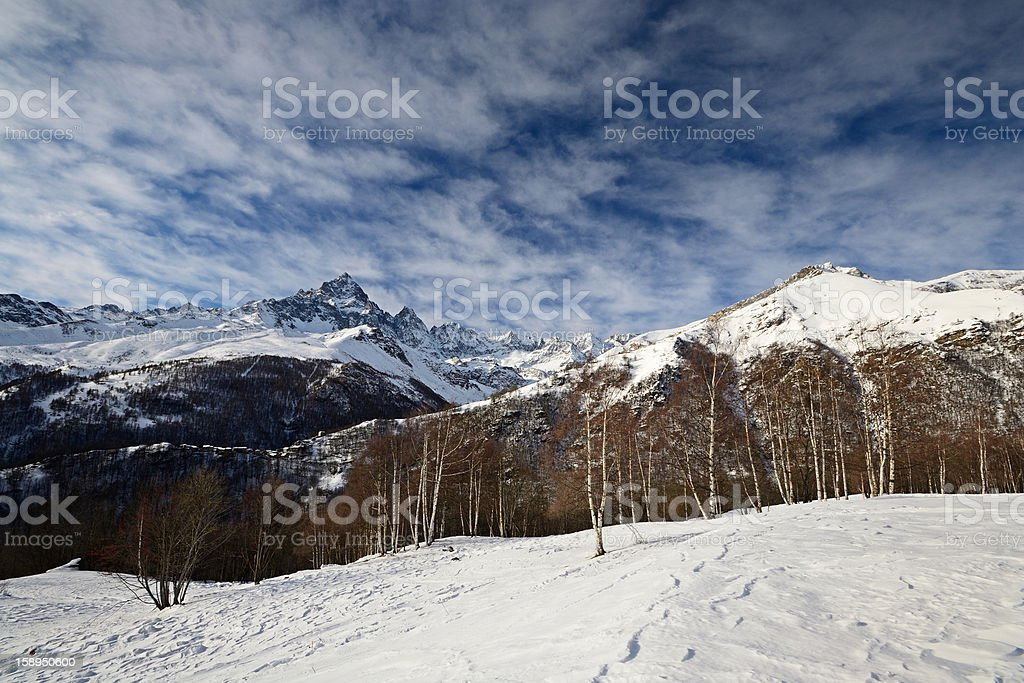 Italian Alps in winter, Mount Viso royalty-free stock photo