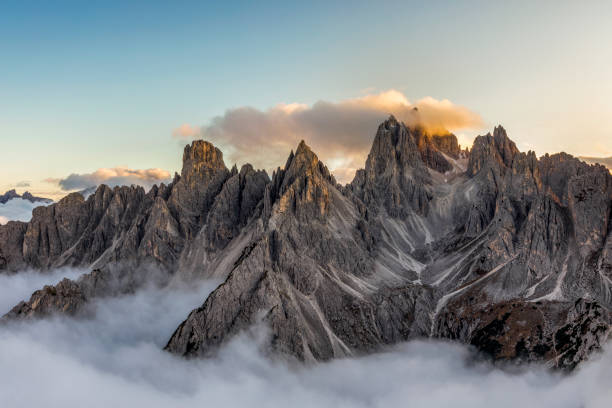 Italian alps - mountains range near the Tre Cime di Lavaredo. View from above stock photo