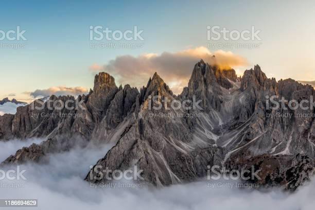 Photo of Italian alps - mountains range near the Tre Cime di Lavaredo. View from above