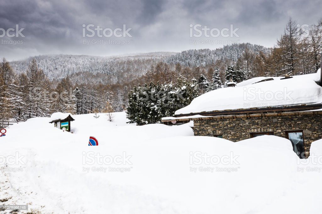 Italian alps road in winter stock photo