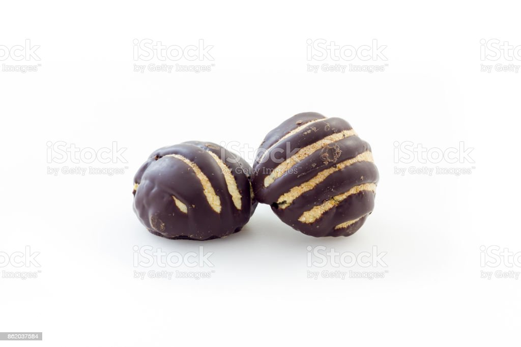 Italian amaretti biscuits covered with chocolate stock photo