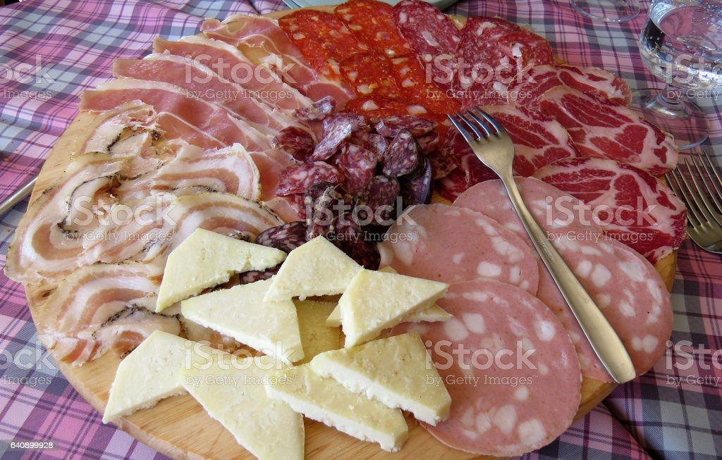 Italian antipasti platte stock photo
