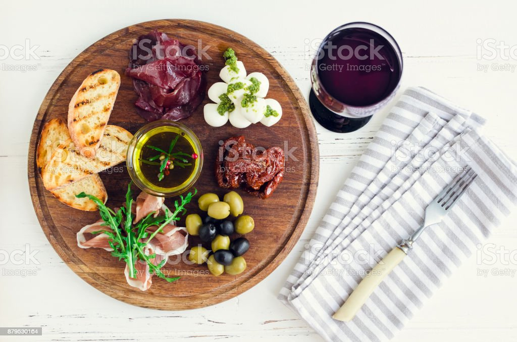 Italian antipasti wine snacks set stock photo