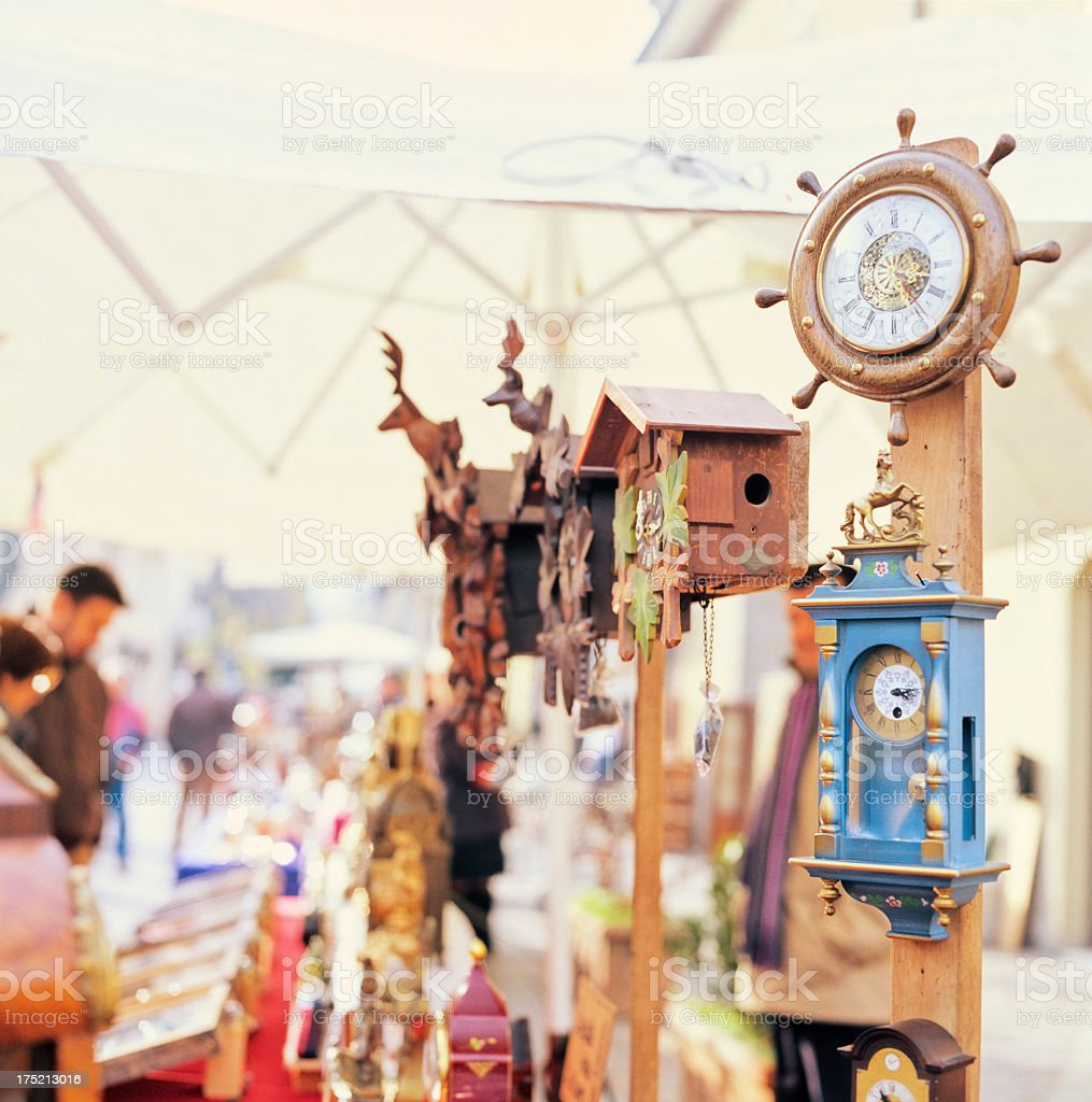 Italian antique street market fair and merchandise stock photo