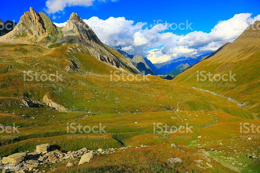Italian Aosta Valley alpine landscape, grandes jorasses pinnacles stock photo