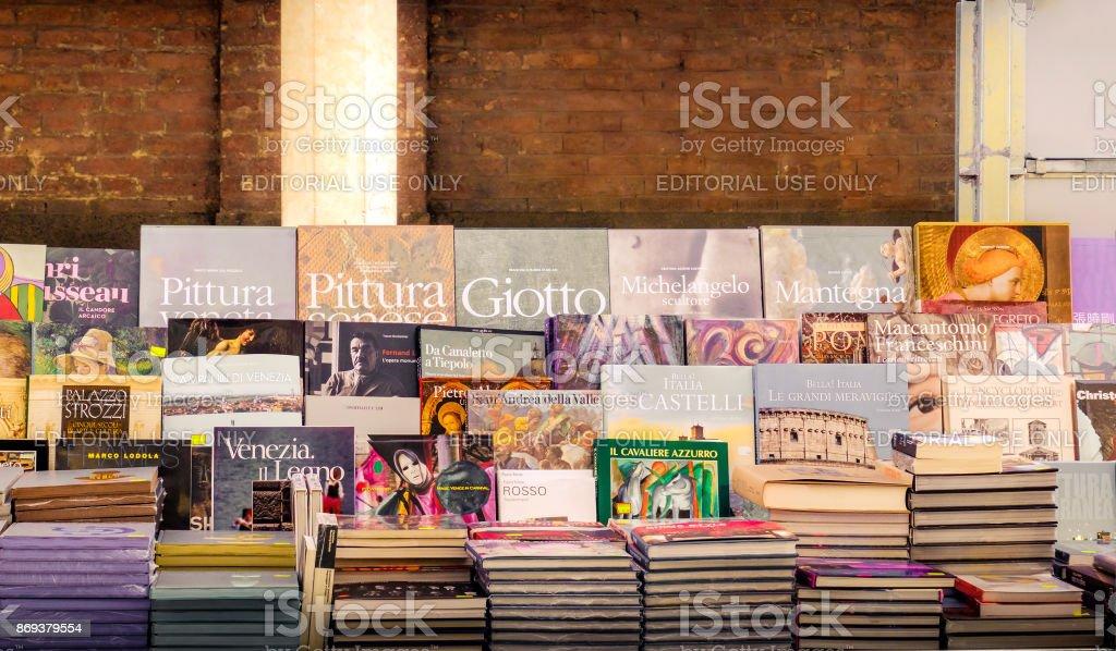 italian art books on a market stall in Rome, Italy,24 Apr 2017 stock photo