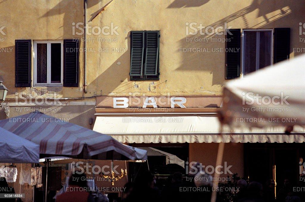 Italian BAR, exterior with sign stock photo