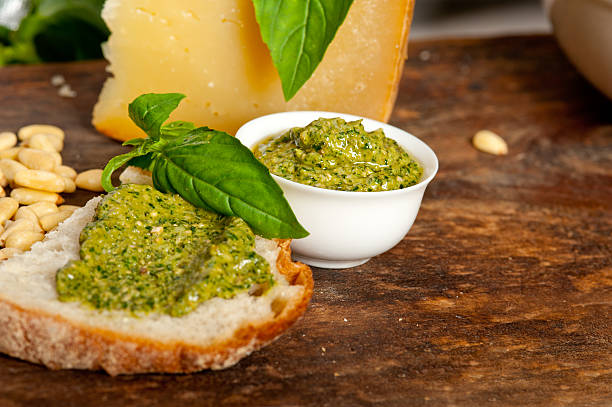 Italian basil pesto bruschetta ingredients stock photo