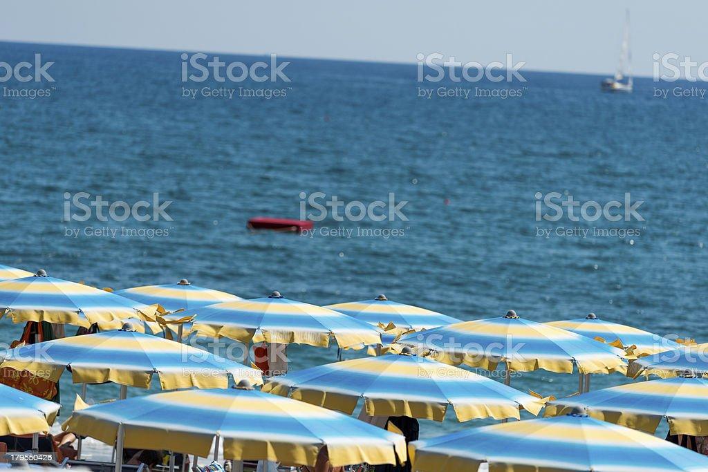 Italian beach umbrellas royalty-free stock photo