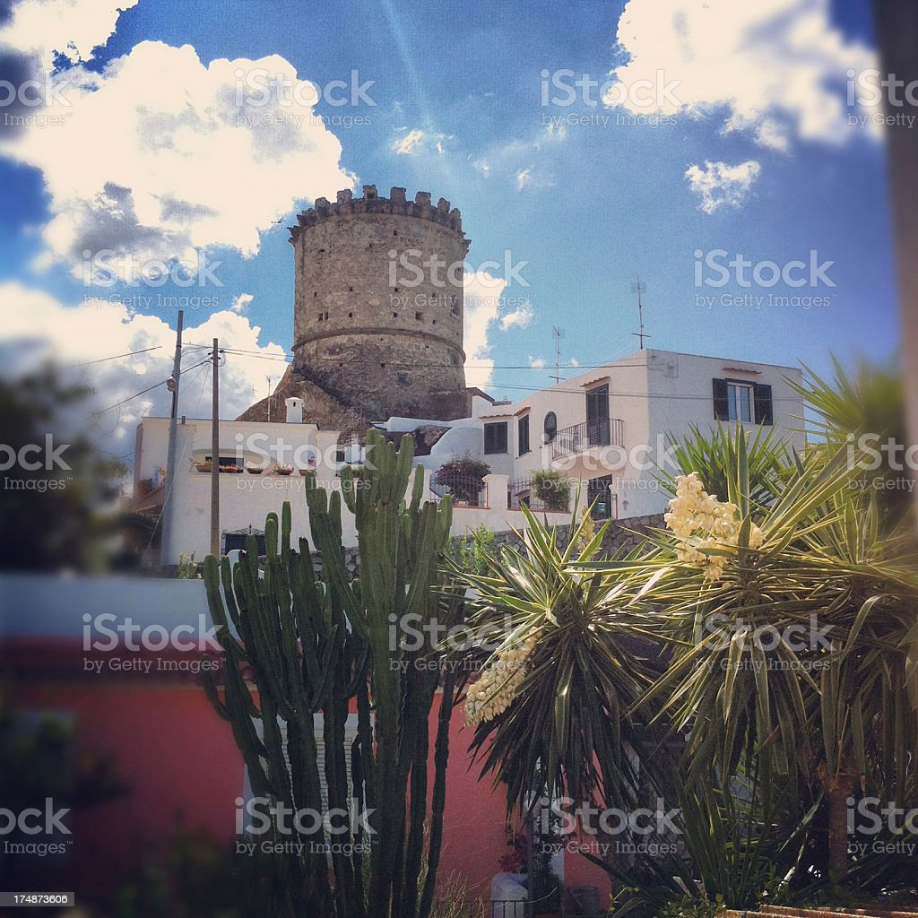 Italian beautiful landscape tower in Forio d'Ischia royalty-free stock photo