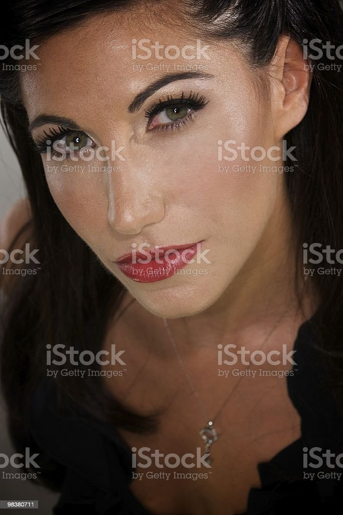 Italian Beauty with Dark Hair royalty-free stock photo