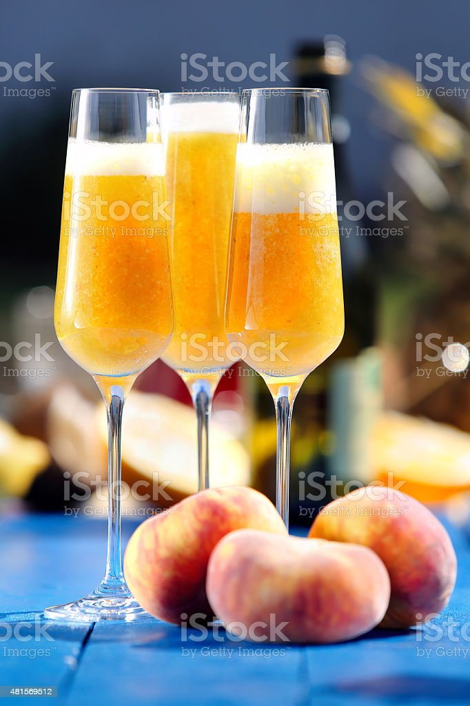 Italian Bellini alcoholic cocktail with peach stock photo