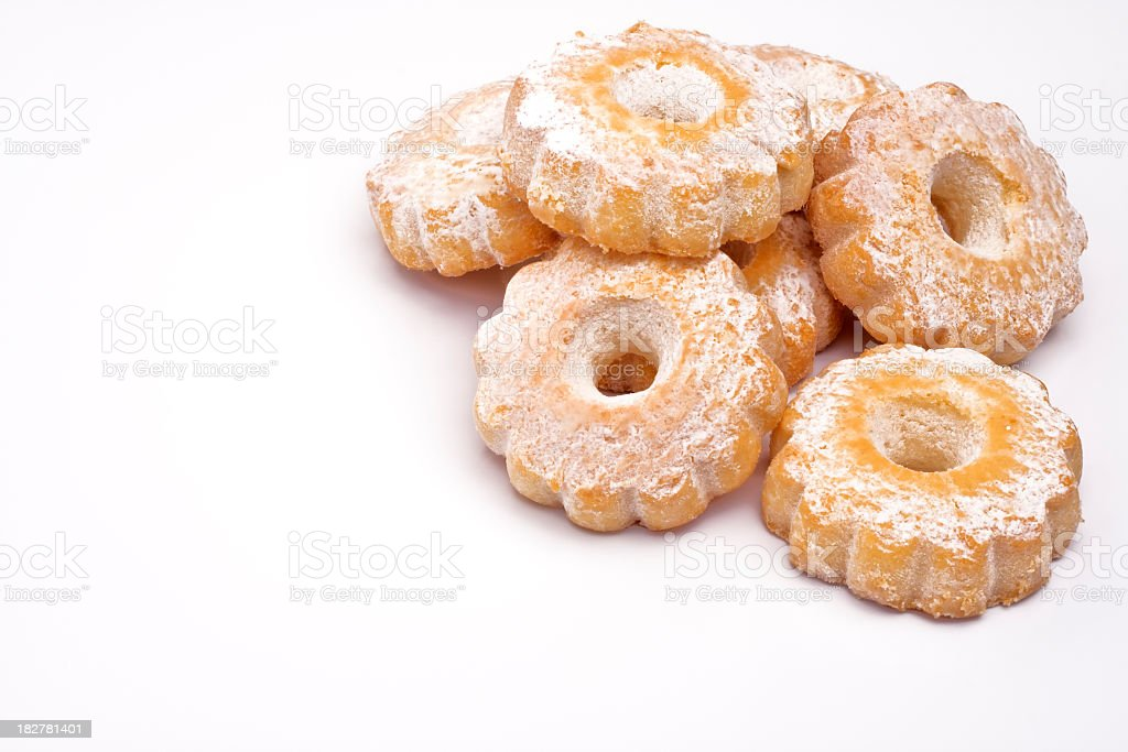 Italian Biscuits on White Background, Breakfast Time stock photo