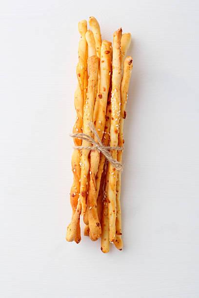 italian bread sticks stock photo