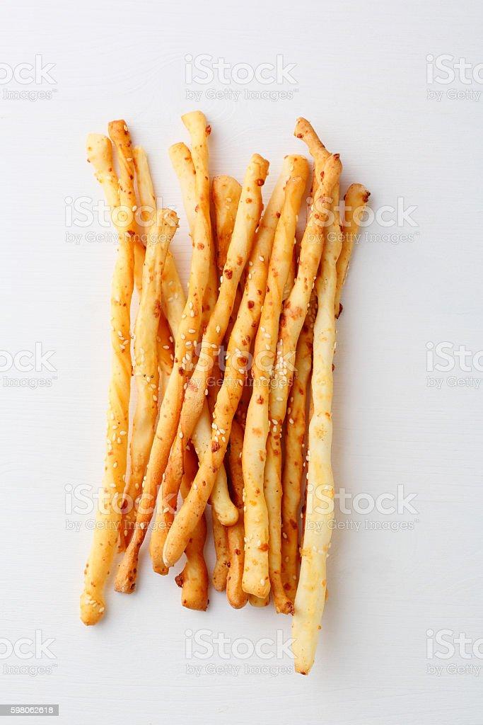 italian bread sticks with cheese stock photo