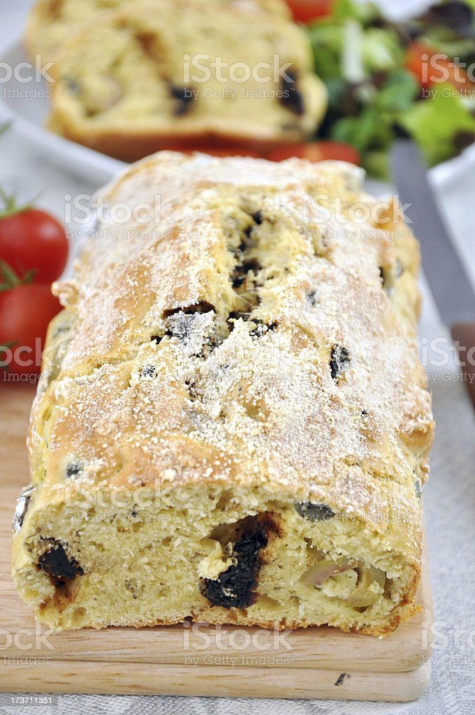 Italian Bread with tomatoes and olives royalty-free stock photo