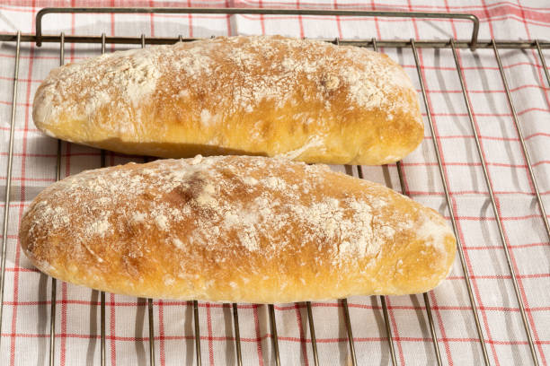 Italian bred : horizontal view Ciabatta home made stock photo