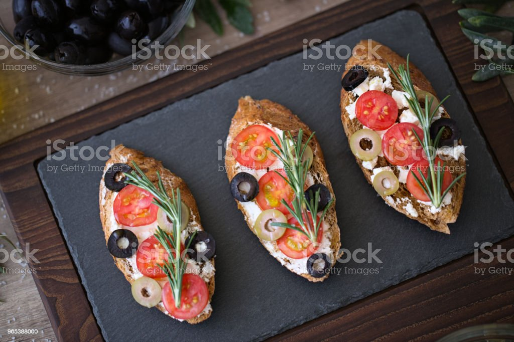 Italian bruschetta on plate for appetizer zbiór zdjęć royalty-free