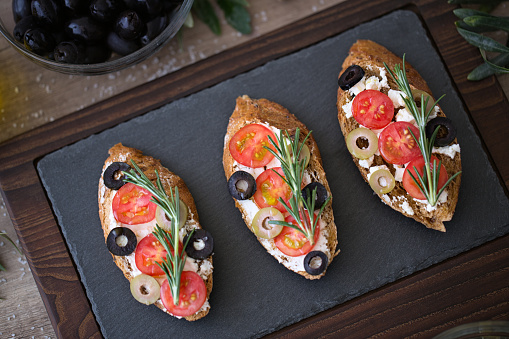 Italian Bruschetta On Plate For Appetizer Stock Photo - Download Image Now