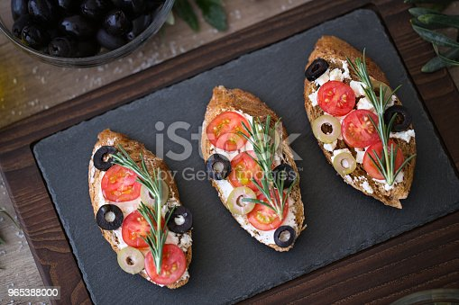 Italian Bruschetta On Plate For Appetizer Stock Photo & More Pictures of Appetizer