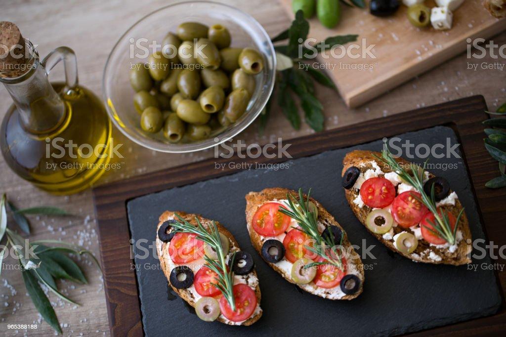 Italian bruschetta on plate for snack royalty-free stock photo