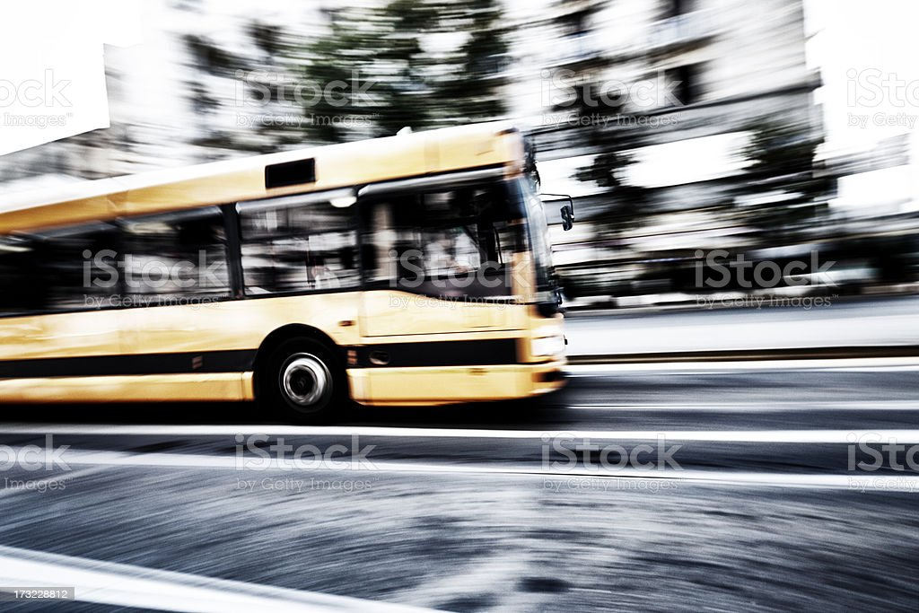 Italian bus in motion royalty-free stock photo