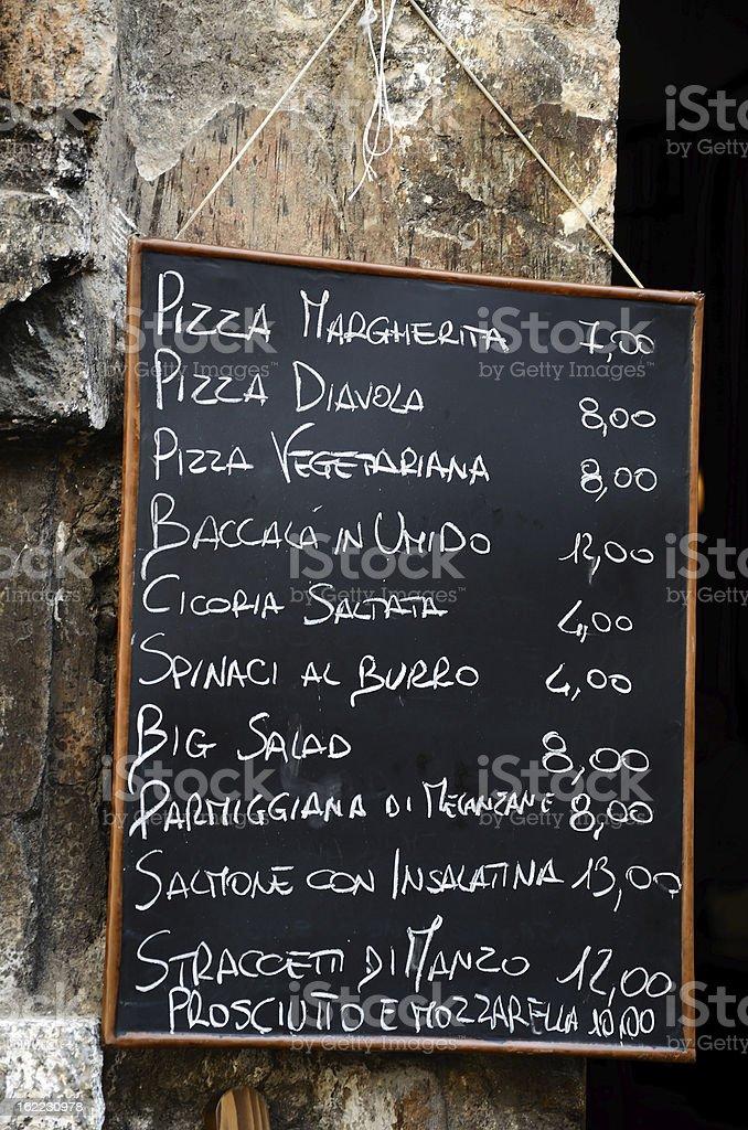 Italian Cafe Menu royalty-free stock photo