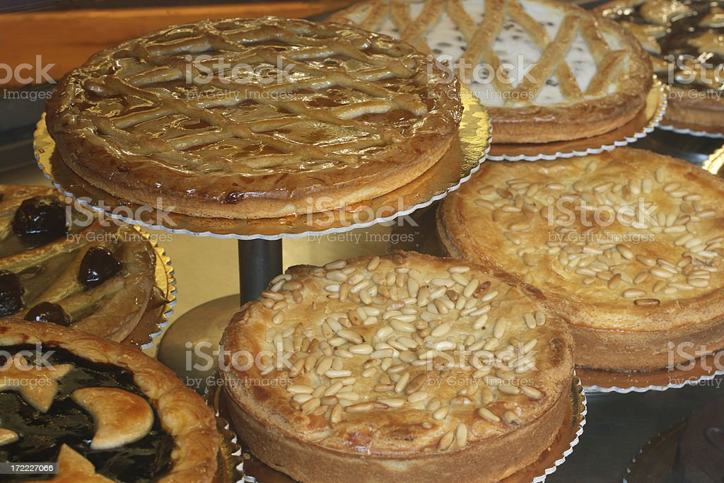 Italian cakes on display in a Roman shop royalty-free stock photo