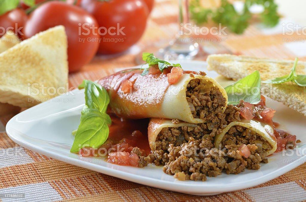 Italian cannelloni stock photo