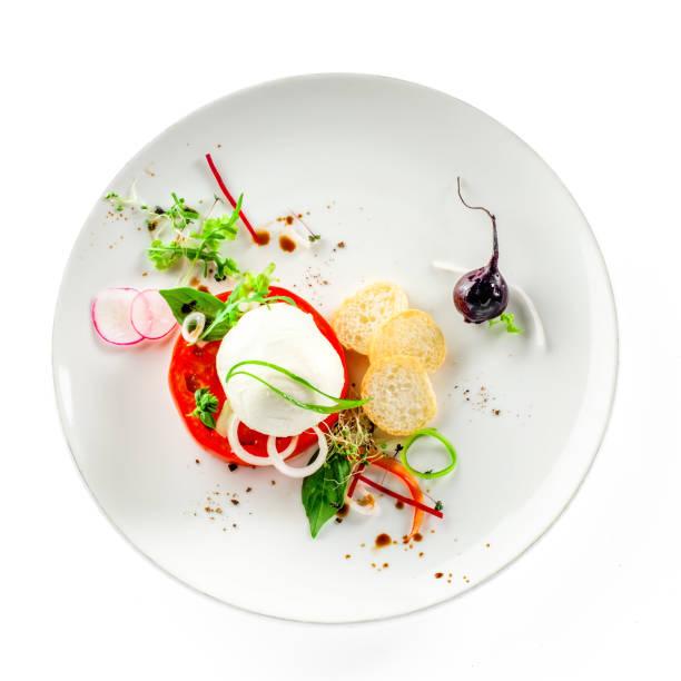 italienischen insalata caprese - caprese salat stock-fotos und bilder