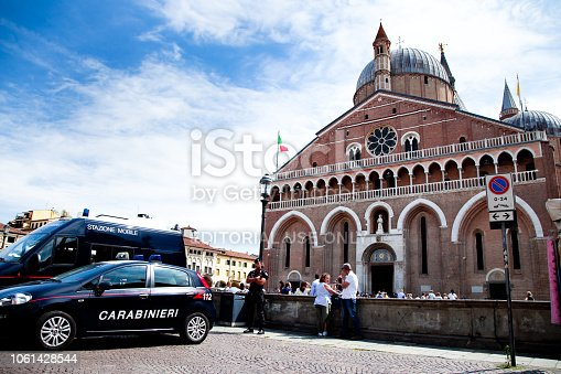 Padua, Italy - June, 24 - 2018 Carabinieri patrol car in Padua via Piazza del Santo . Sant'Antonio Church in background.