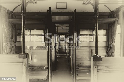 vintage looking photo of an italian Carrozza Centoporte, early XX century compartment coach for third class passenger trains