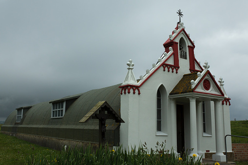 Italian Chapel Orkney In Fog Stock Photo - Download Image Now