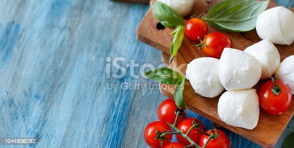 istock Italian cheese mozzarella with basil 1044936292