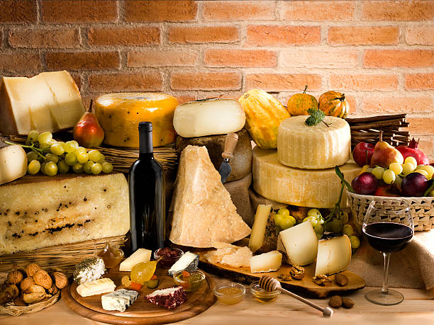 Italian cheese with red wine stock photo