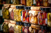 Italian chili pepper and vegetables preserves in street market