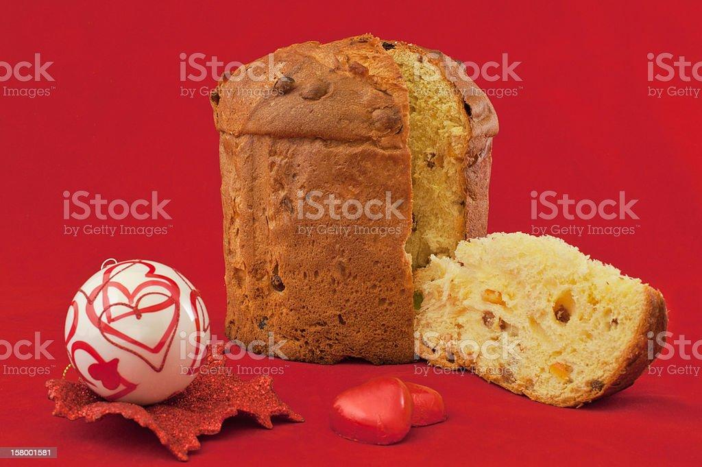 Italian Christmas Cake Panettone, Chocolate and Love royalty-free stock photo