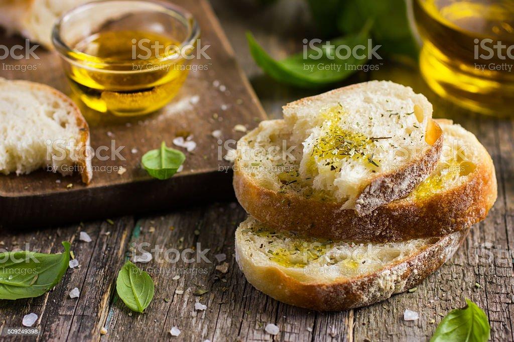 Italian ciabatta  bread with olive oil stock photo