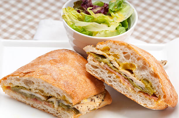 Italian ciabatta panini sandwich chicken stock photo