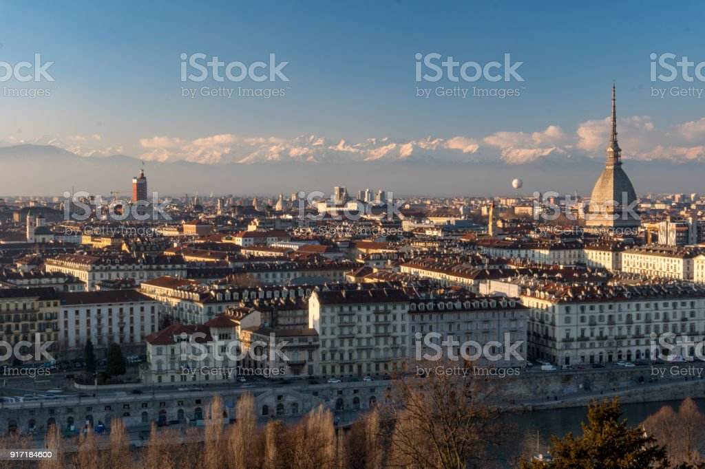 Italian City Landscape Of Torino With Alps And The Mole Antonelliana Stock  Photo - Download Image Now