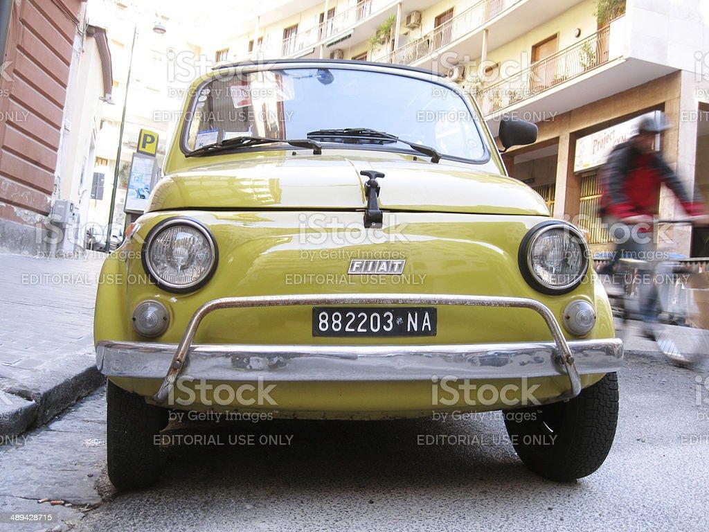 Italian City with Yellow Old Car stock photo
