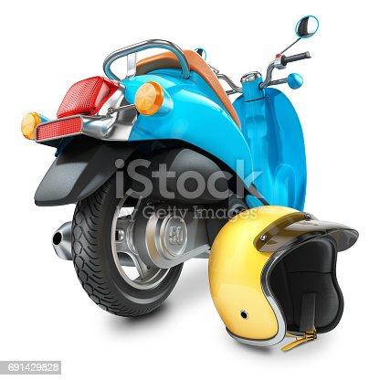 istock Italian classic scooter with yellow helmet 691429828