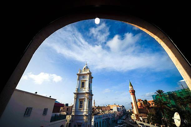 Italian Clock Tower in the Medina of Tripoli / Libya stock photo