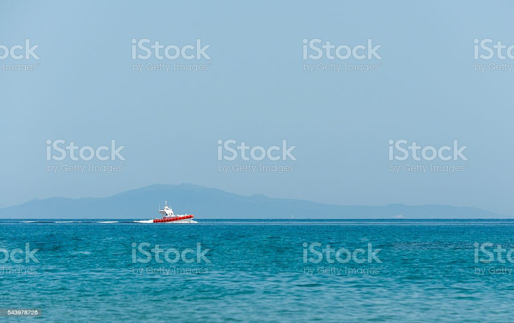 Italian coast guard rubber dinghy stock photo