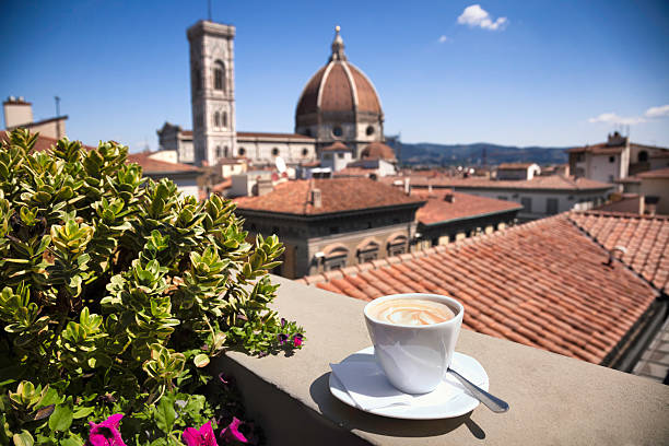 Italian coffee:  Florence Cathedral stock photo
