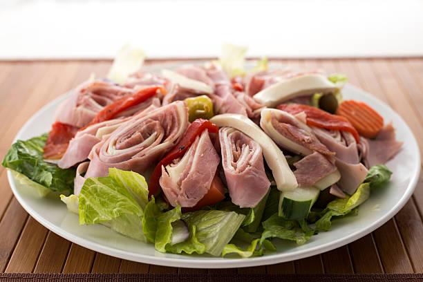 Italian Cold Antipasto Salad on a Plate stock photo