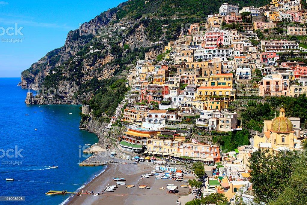 Italian colorful Positano, Amalfi Coast blue sea, Bay of Naples stock photo